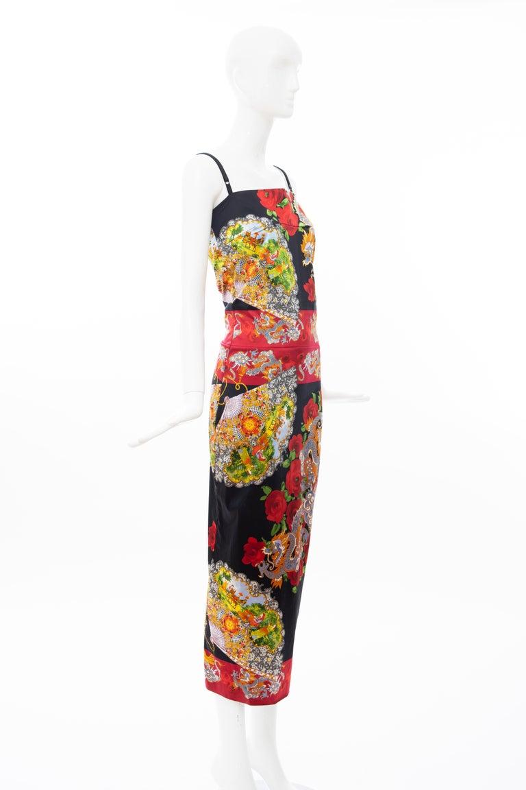 Dolce & Gabbana Printed Dragon & Fan Stretch Silk Satin Evening Dress,Circa 1999 For Sale 2