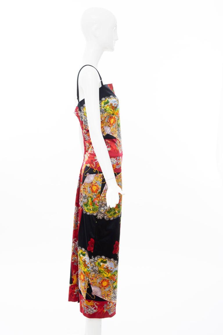 Dolce & Gabbana Printed Dragon & Fan Stretch Silk Satin Evening Dress,Circa 1999 For Sale 3