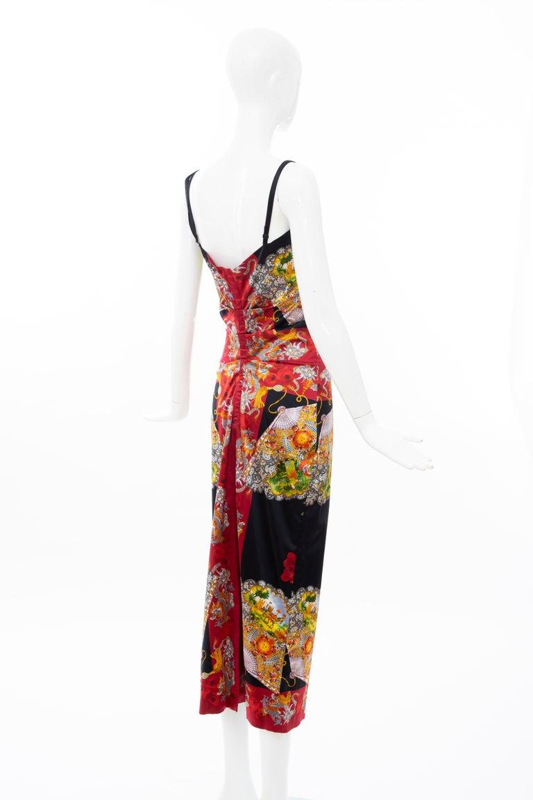 Dolce & Gabbana Printed Dragon & Fan Stretch Silk Satin Evening Dress,Circa 1999 For Sale 4