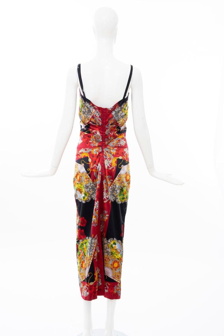 Dolce & Gabbana Printed Dragon & Fan Stretch Silk Satin Evening Dress,Circa 1999 For Sale 5