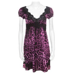 Dolce & Gabbana Purple and Black Animal Printed Lace Insert Baby Doll Dress S