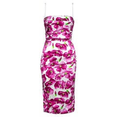 Dolce & Gabbana Purple Floral Printed Silk Satin Ruched Midi Dress M