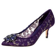 Dolce & Gabbana Purple Lace Jeweled Embellishment Pointed Toe Pumps Size 38