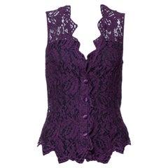 Dolce & Gabbana Purple Lace Sleeveless Vest M
