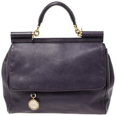 Dolce & Gabbana Purple Leather Large Miss Sicily Top Handle Bag