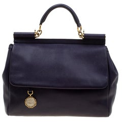 Dolce & Gabbana Purple Leather Large Miss Sicily Tote