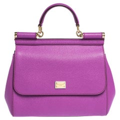 Dolce & Gabbana Purple Leather Medium Miss Sicily Bag