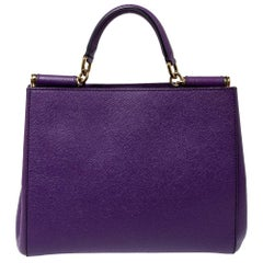 Dolce & Gabbana Purple Leather Miss Sicily Top Handle Bag