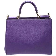 Dolce & Gabbana Purple Leather Miss Sicily Top Handle Bag