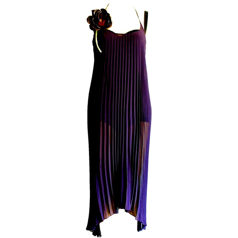 Dolce & Gabbana Purple Pleated Silk Cocktail Dress with Flower Detail For Sale