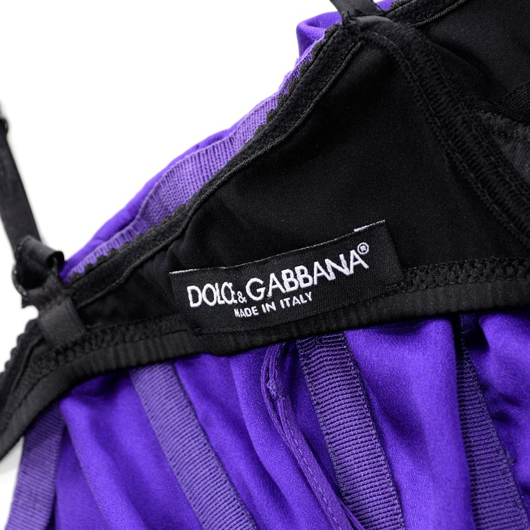 Dolce & Gabbana Purple Silk Bodycon Ruched Corset Dress With Black Lace Trim For Sale 9
