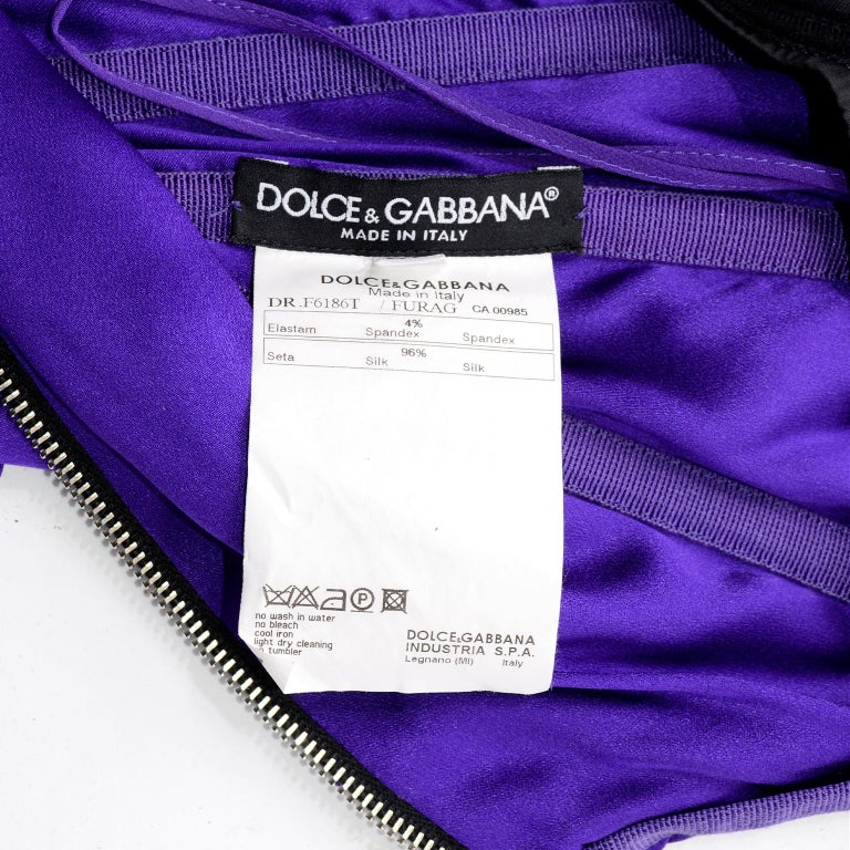 Dolce & Gabbana Purple Silk Bodycon Ruched Corset Dress With Black Lace Trim For Sale 11