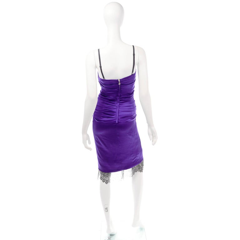 Dolce & Gabbana Purple Silk Bodycon Ruched Corset Dress With Black Lace Trim For Sale 1