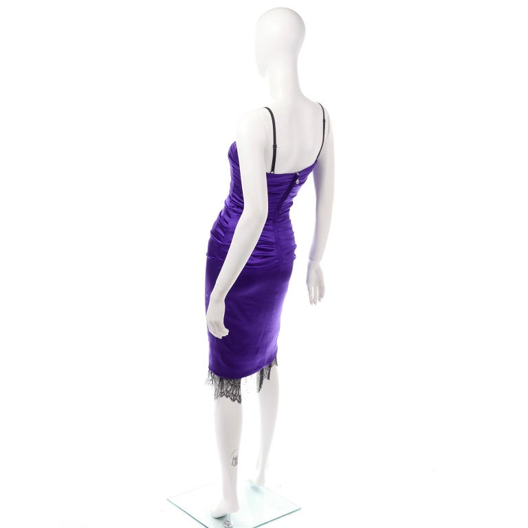 Dolce & Gabbana Purple Silk Bodycon Ruched Corset Dress With Black Lace Trim For Sale 2