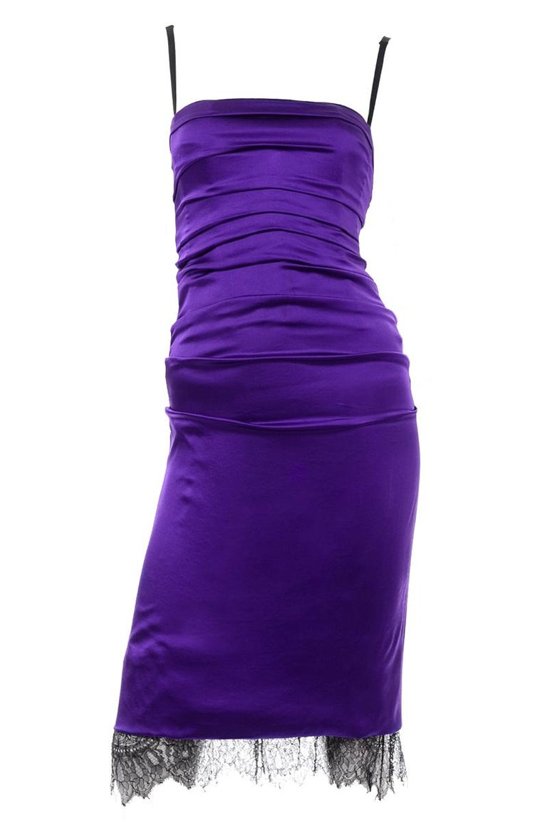 Dolce & Gabbana Purple Silk Bodycon Ruched Corset Dress With Black Lace Trim For Sale 4