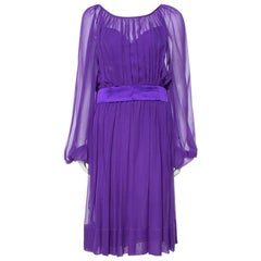 Dolce & Gabbana Purple Silk Chiffon Gathered Dress M