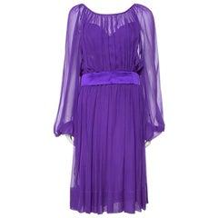 Dolce & Gabbana Purple Silk Chiffon Gathered Dress M