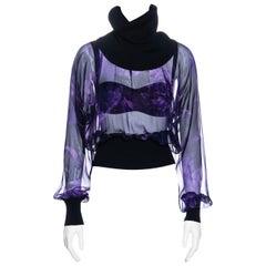 Dolce & Gabbana purple silk chiffon turtleneck blouse and bra set, ss 2000