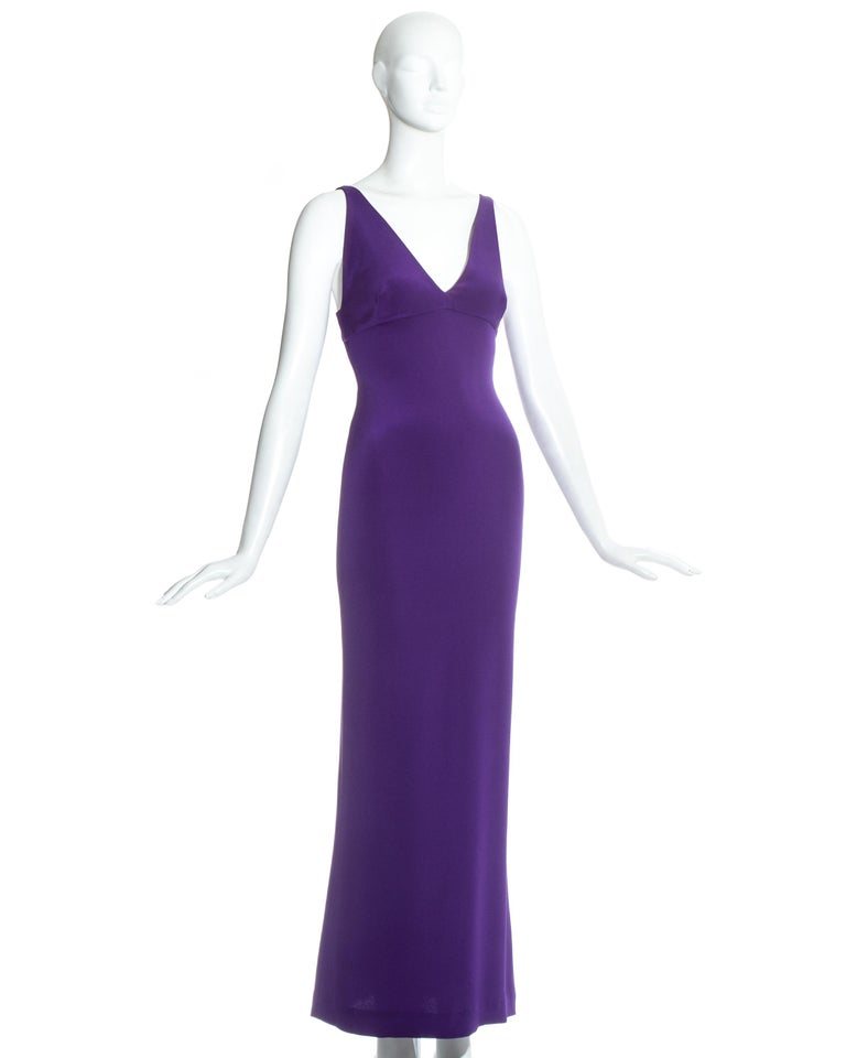 Purple Dolce & Gabbana purple silk evening maxi dress, c. 1990s For Sale