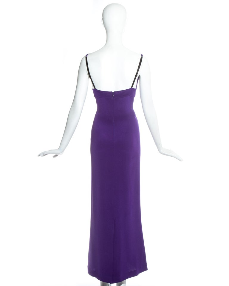 Women's Dolce & Gabbana purple silk evening maxi dress, c. 1990s For Sale