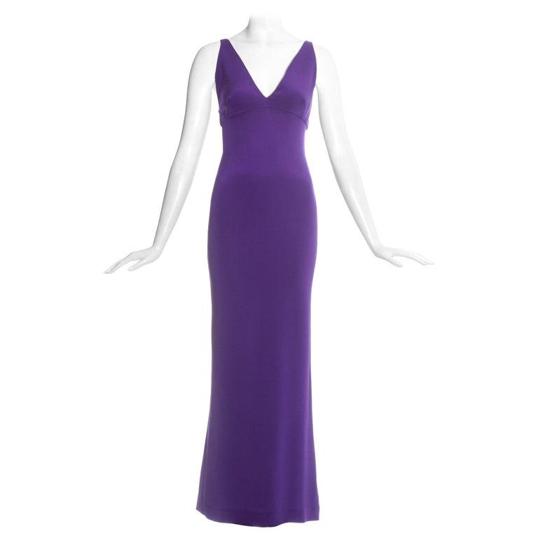 Dolce & Gabbana purple silk evening maxi dress, c. 1990s For Sale