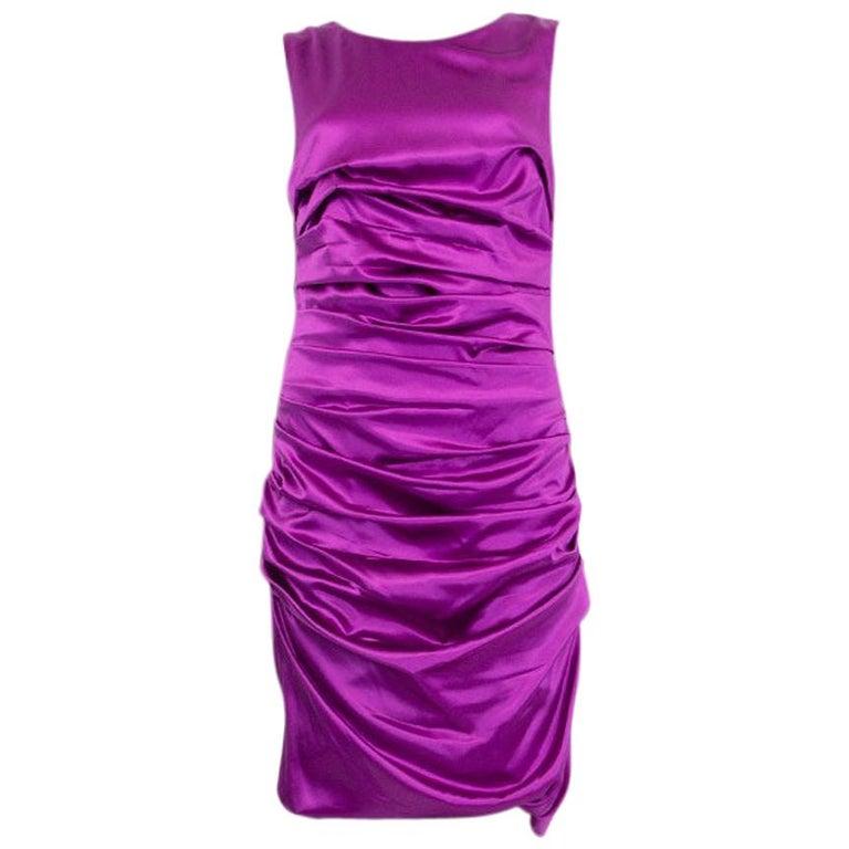 DOLCE & GABBANA purple silk RUCHED SATIN Sleeveless Cocktail Dress 44 L For Sale