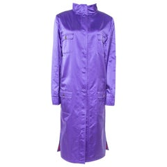 Dolce & Gabbana Purple Silk Satin Button Front Coat L