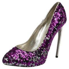 Dolce & Gabbana Purple/Silver Sequins And Leather Pumps Size 40