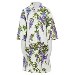 DOLCE GABBANA purple Wisteria floral print crepe 3/4 sleeve coat jacket IT40 S