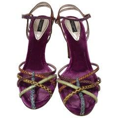 Dolce & Gabbana Python skin Velvet Sandals