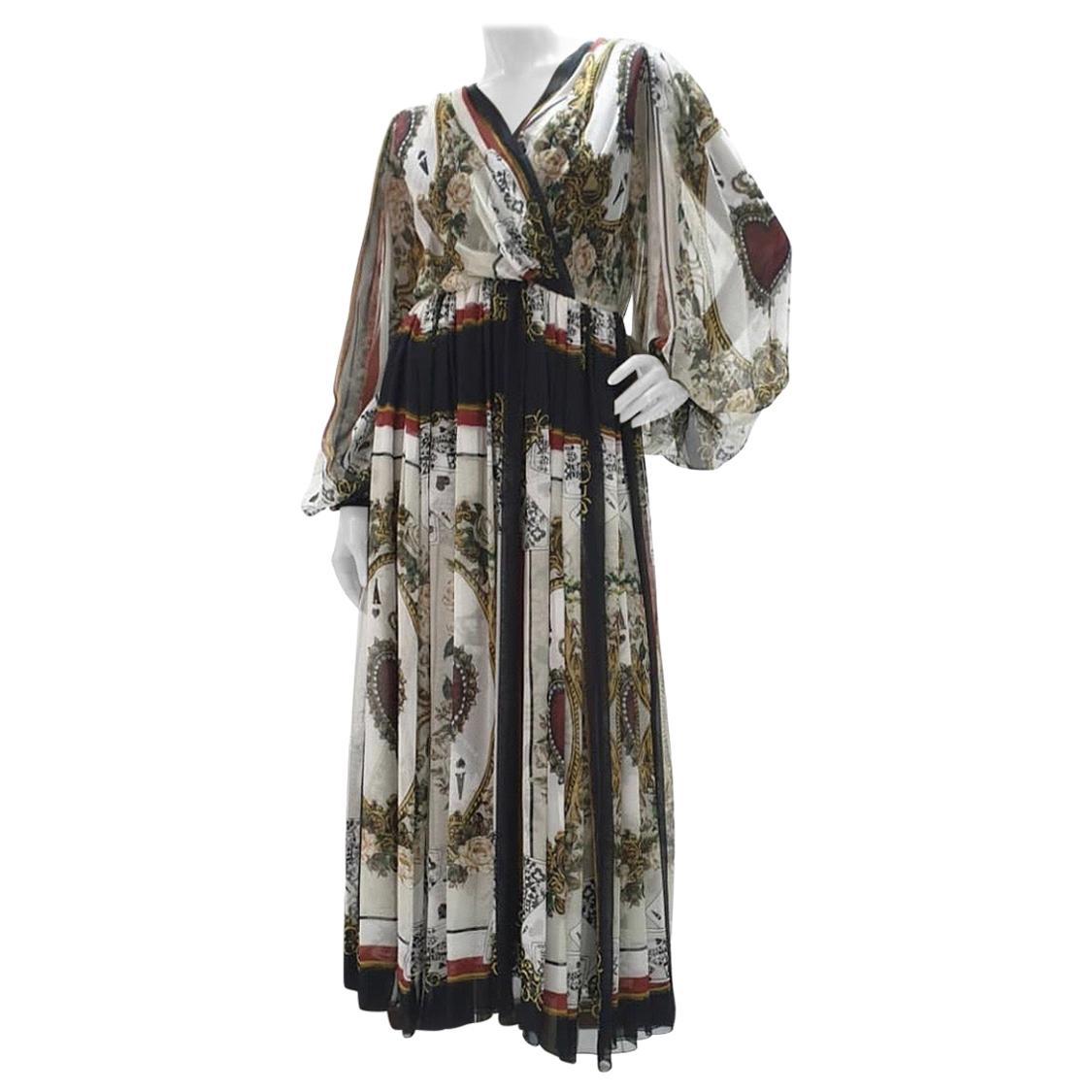Dolce & Gabbana Queen Of Hearts Silk Dress