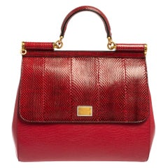 Dolce & Gabbana Red Ayers and Leather Large Miss Sicily Top Handle Bag