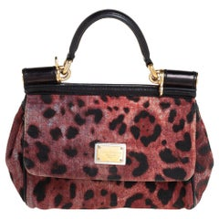 Dolce & Gabbana Red/Black Canvas Small Miss Sicily Top Handle Bag
