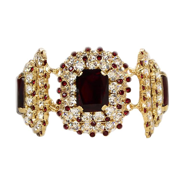 Dolce & Gabbana Red & Clear Crystal Embellished Bracelet  For Sale