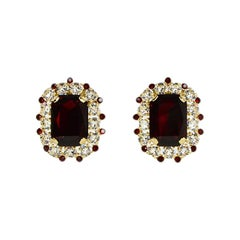 Dolce & Gabbana Red & Clear Crystal Embellished Clip-on Earrings
