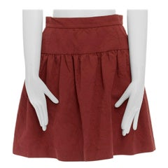 DOLCE GABBANA red cotton floral jacquard pleated flared mini skirt IT38 XS