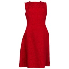 DOLCE & GABBANA red cotton FLORAL JACQUARD Sleeveless Dress 40