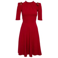 Dolce & Gabbana Red Crepe Puff Sleeve A-Line Dress XS