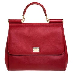 Dolce & Gabbana Red Dauphine Leather Medium Miss Sicily Bag