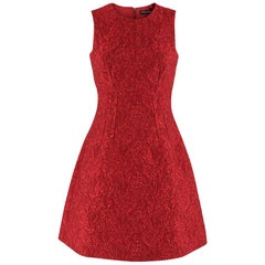 Dolce & Gabbana Red Floral Brocade Dress SIZE 40 IT