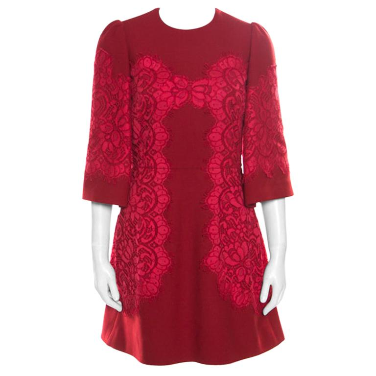 Dolce & Gabbana Red Floral Lace Applique Detail Fit and Flare Dress S For Sale