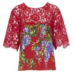 DOLCE GABBANA red floral print viscose lace yoke short sleeve top IT38