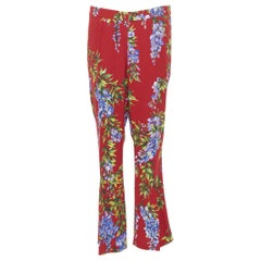 DOLCE GABBANA red floral print viscose straight leg casual trousers pants IT44