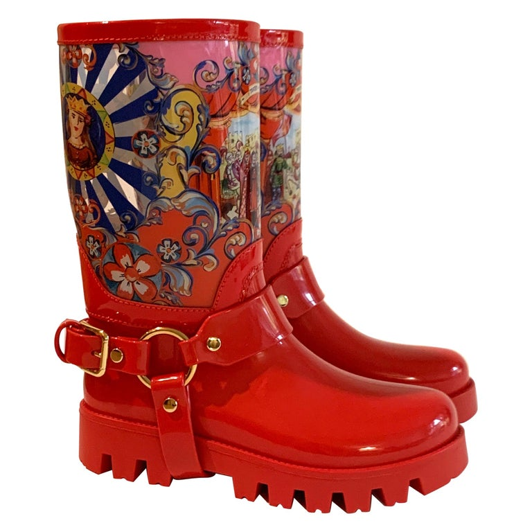 Dolce & Gabbana Red Italian Theatre Print Rainboots Wellies Galoshes For Sale