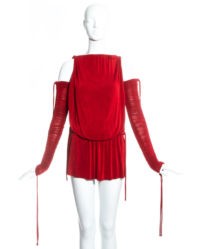 Red Dolce & Gabbana red jersey draped drawstring mini dress, ss 2003 For Sale