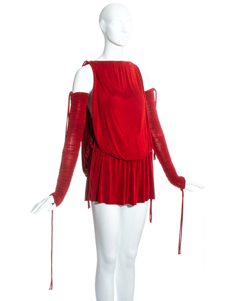 Dolce & Gabbana red jersey draped drawstring mini dress, ss 2003 In Good Condition For Sale In London, GB