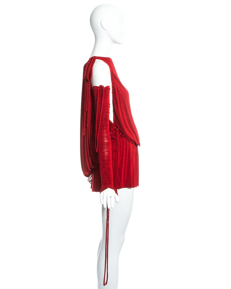 Women's Dolce & Gabbana red jersey draped drawstring mini dress, ss 2003 For Sale