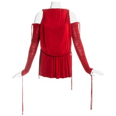 Dolce & Gabbana red jersey draped drawstring mini dress, ss 2003