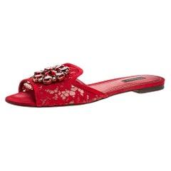 Dolce & Gabbana Red Lace Crystal Embellished Flat Slides Size 40