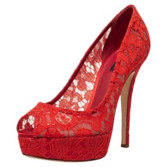 Dolce & Gabbana Red Lace Peep Toe Platform Pumps Size 41